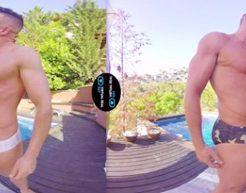 【VRゲイ動画】ガチムチゲイカップルがプールサイドで周りの目も気にせず野外で見せつけ露出ハッテン!